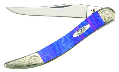 (Case Cutlery 910096LP/E Engraved Lollypop Small Texas Toothpick Corelon Pocket Knife with Stainless Steel Blades, Pink/Blue/Violet)