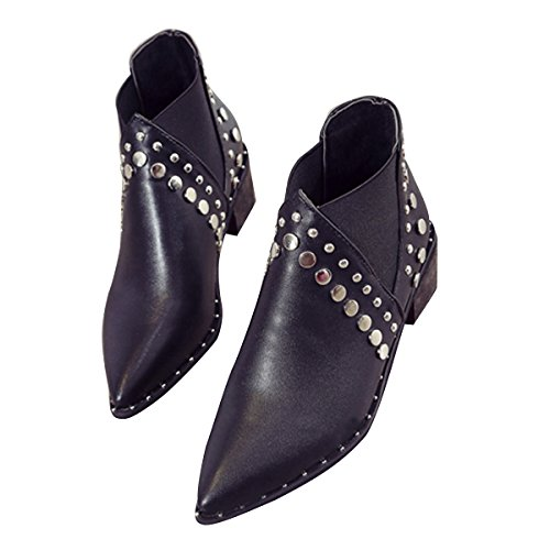 Western Studded Ankle Boots Womens Pointed Toe Block Mid Heel Slip On Booties By VFDB - stylishcombatboots.com