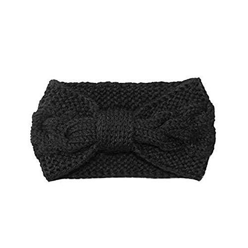 Womens Winter Knitted Headband - Crochet Twist Hair Band Headwrap Hat Cap Ear Warmer (Black 2) (Bowknot-black)