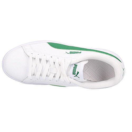 Smash V2 L, Sneakers Basses Mixte Adulte, Blanc White-Amazon Green 03, 41 EUPuma