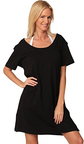 Ingear Cotton Dress Summer White Beach Sleeve Casual Short Cover Up Plus Size (Large, Black)