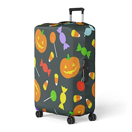 Pinbeam Luggage Cover Blue Candy Cute Retro Halloween Seamlessly Repeatable Green Travel Suitcase Cover Protector Baggage Case Fits 18-22 -