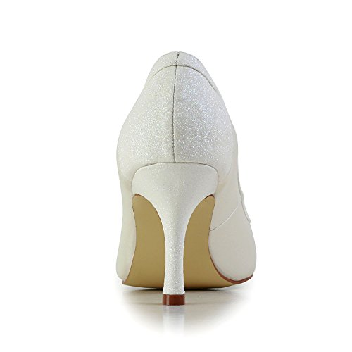 Bridal High JIA Satin Shoes Pumps Pointed Women's Toe Heel White Shoes A3116 JIA Wedding 0ZwqtxRR