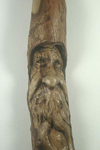 Woodcarving Wood Spirit Tree Face Spirit of the Woods Odd Weird Pagan Wiccan Sculpture Cabin Home Decor Old Man Gnome Wizard OOAK Labyrinth and Brian Froud inspired