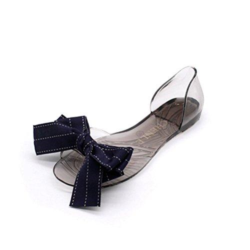 Toe Transparent Douce PVC Shoes Beach Peep Flip Crystal Bleu Slides Flats Flop Femmes Chaussures JRenok Bowknot Sandales Sandales gelée qqv4Y6B