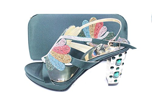 D Women SAN Wedding Platform Diamante W Block with Green Matching Ladies Heel Sandal Shoes Bag Bridal Fashion amp;W 4524 Evening Bwa4aUqp