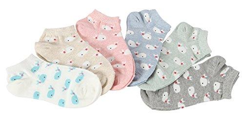 Heart Ankle Socks (FloraKoh Women Cotton Low Cut No Show Animal Fun Ankle Socks (Whale cartoon))