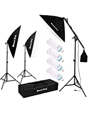 """MOUNTDOG 95W Photography Continuous Softbox Lighting Kit 20""""X28"""" Soft Box Professional Photo Studio Equipment with E27 Socket 5500K Lighting Bulb for Filming Portrait Video Shooting"""