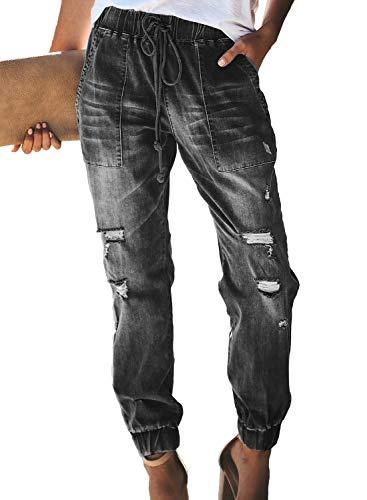 Sidefeel Women Distressed Denim Joggers Elastic Drawstring Waist Jeans Pants XX-Large Black