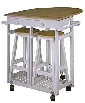 Dynamic24 Küchenbar Auf Rollen + 2 Hocker Küchentisch Klappbar Tresen Tisch  Sitzgruppe Küche Bar Theke