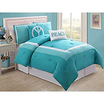 Amazon Com 5 Piece Girls Turquoise Peace Full Comforter