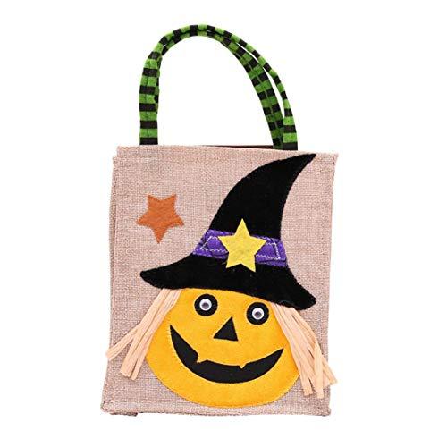 Halloween Tote Bags, SUJING Trick or Treat Halloween Tote Bag Halloween baskets Linen Party Gift Candy Bag (C)
