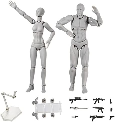 Skin Colored Version BYIA Body Kun Doll Artists Manikin Blockhead Jointed Mannequin Drawing Figures for Figure Model Male+Female Set