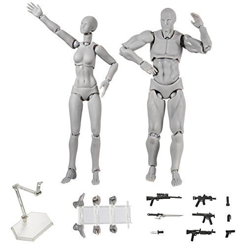 ALEXTREME Art Mannequin Set,Action Figure,2 Pcs/Set Light Body PVC Movebale Action Figure Model for SHF Version 2.0 Gifts (01, Grey)
