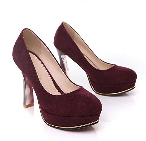 YCMDM nuova scarpe col tacco alto temperamento modo delle donne di scarpe da sera essenziali di autunno della molla vino Moda Rosso Blu Nero 34 35 36 37 38 39 , wine red , 34