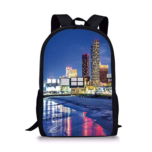 (School Bags City,Resort Casinos on Shore at Night Atlantic City Jersey United States,Violet Blue Pink Yellow for Boys&Girls Mens Sport)