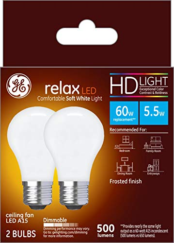 GE Lighting 31361 Finish Light Relax HD Dimmable LED A15 Ceiling Fan Bulb 5.5 (60-Watt-Replacement), 500-Lumen Medium Base, 2-Pack Standard, Frosted White, 2