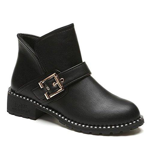 Black primavera casual pu abbigliamento scarpe donna cadono Bootie di stivaletti tacco Scarpe Burgundy Comfort Chunky HSXZ Babbucce Burgundy q1ZcwBtW