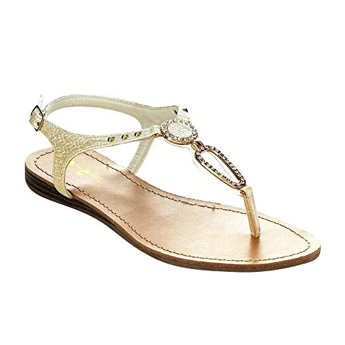 QUEEN CHATEAU ALDA-3 Women's Slingback Flat Thong Sandals, Color:WHITE, Size:10
