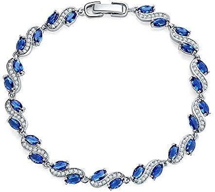 Pulsera De Mujer, Cadena De Plata Azul con Piedras Preciosas Azules, Pulsera De Regalo De San Valentín