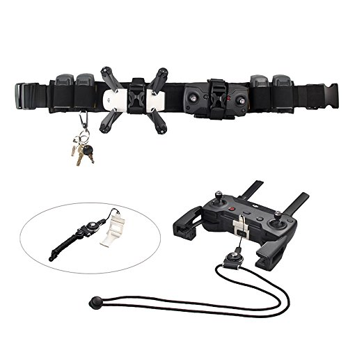 Transmitter Holster (Outdoor Carrying Multifunction Belt and Neck Lanyard Strap BonFook Adjustable Sport Portable Waist Belt Nylon for Dji Spark)