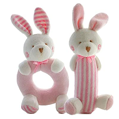 FOREAST 2 Pcs Rattle Set Soft Plush Baby Toys Newborn Gift 0-2 Years Girls / Boys Toy ,Plush Bunny / Bear Makes Fantastic Sound by FOREAST that we recomend personally.
