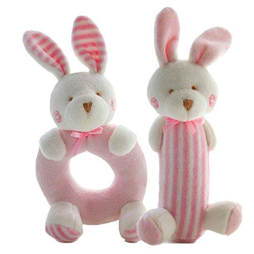 FOREAST 2 Pcs Rattle Set Soft Plush Baby Toys Newborn Gift 0-2 Years Girls / Boys Toy ,Plush Bunny / Bear Makes Fantastic Sound (Pink) Baby Soft Plush