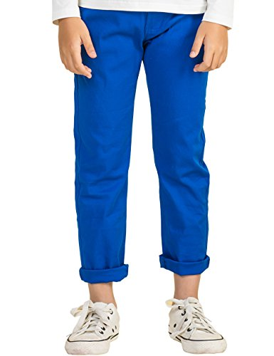 (BYCR Boys' Solid Color Elastic Chino Cotton Pant for Kids Size 4-16 (160 (US Size 12), Blue-Thin))