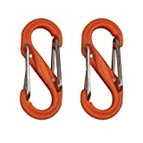 Nite Ize SBP0-2PK-19 S-Biner Plastic Size-0 Double Gated Carabiner, Orange, 2-Pack