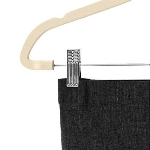Premium Quality Velvet Pants Hanger Set of 26 - Ultra-Thin No Slip Velvet Skirts Hangers - Swivel Hooks, Space Saving Clothes Hangers - Great For Skirts, Dresses, Suits, Shirts & More - Slim IVORY by TechZoo (Image #3)