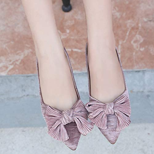 Cywulin Womens Comfortable Bow Knot Point Toe Slip On Ballet Sweet Flat Dress Shoes Elegant Cute Ballerina Fashion Loafer