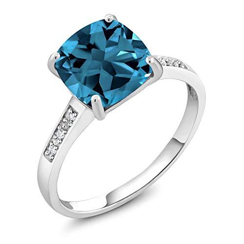 Gem Stone King 10K White Gold London Blue Topaz and Diamond Ring 2.74 Ctw Cushion Cut (Size 8)