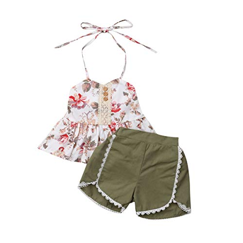 - Toddler Kid Baby Girls Halter Floral Top Dress Lace Ruffled T-Shirt Shorts Pants Summer Outfits 1-6Y (5-6Y, Green)