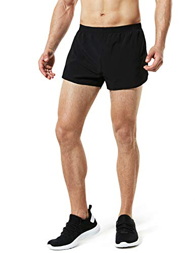 TSLA Men's 3 inches Quick-Dry Mesh Liner Pace Running Shorts Jogging Marathon w Pocket, Paceshorts 3inch(mbh23) - Black, Large