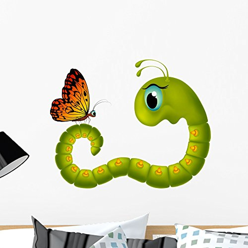 Wallmonkeys Cartoony Caterpillar Looking Butterfly Wall Decal Peel and Stick Graphic (24 in W x 19 in H) WM241166