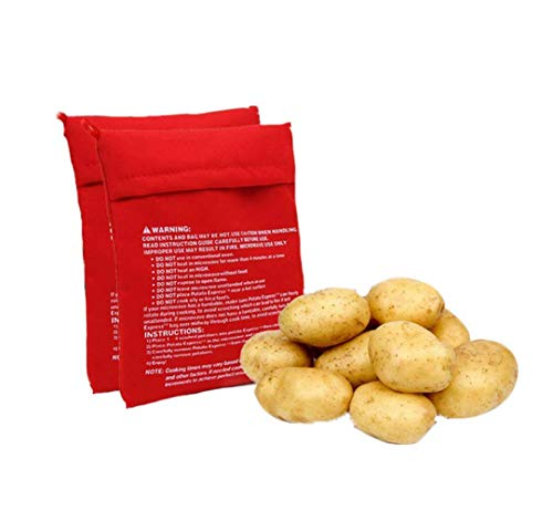 XINGZI Microwave Potato Cooker Bag 4PCS Reusable And Washable Express Saving Time Baking Fabric Pouch Bag for Any Type of Potatoes Express Bake Perfect Potatoes Just in 4 Minutes