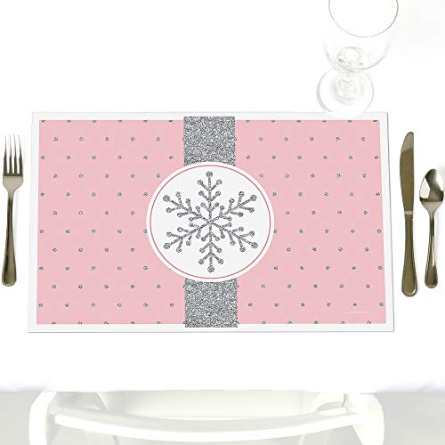 Pink Winter Wonderland - Party Table Decorations - Holiday Snowflake Birthday Party or Baby Shower Placemats - Set of 12 ()