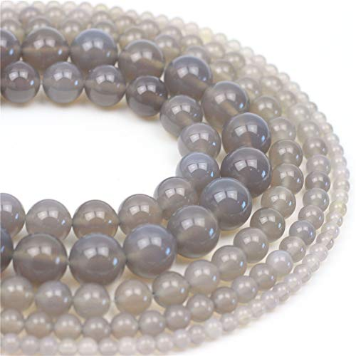 Ring Agate Round (Oameusa 6mm Natural Gray Agate Beads Round Smooth Beads DIY Materials Bracelet Necklace Earrings Making Jewelry Agate Beads for Jewelry Making 15