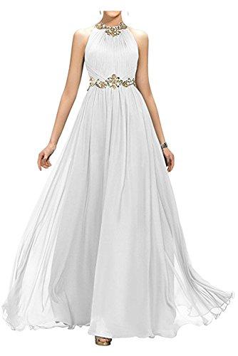 Applikation Linie bodenlang Elegant Falte Neckholder Chiffon Ivydressing Weiß aermellos Strass Damen Ballkleid Abendkleid Promkleid A wqIE5zT
