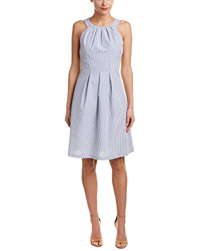 Nine West Women's Sleeveless Pleat Neck Fit-and-Flare Dress