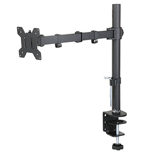 "WALI Single LCD Monitor Desk Mount Stand Fully Adjustable Fits One Screen up to 27"", 22 lbs Capacity, C-Clamp / Grommet Base (WL-M001)"