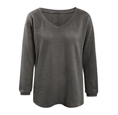 Tongshi Las mujeres de manga larga de punto jersey Suéter suelto Jumper Tops de punto Gris oscuro