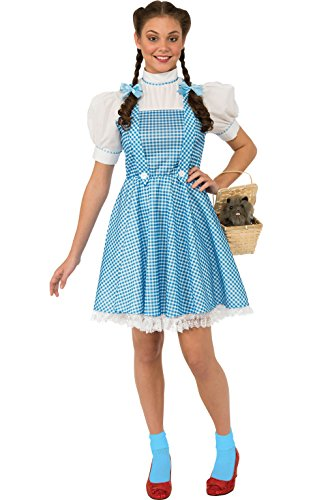 Dorothy Halloween Costume (Rubie's Costume Wizard Of Oz Adult Dorothy Dress and Hair Bows, Blue/White, Standard)