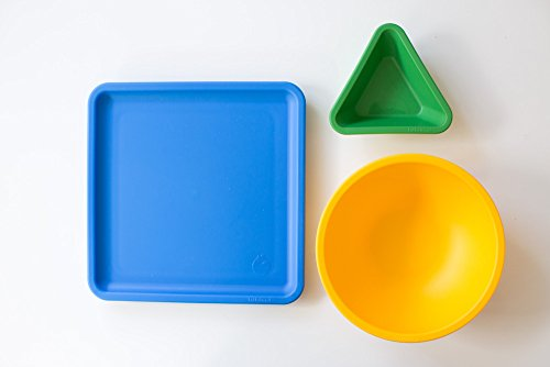 Lollaland Kids Dinnerware (Spring) 3-Piece Feeding Plate, Bowl, Dip Cup Made in USA - Microwave, Dishwasher Safe, No BPA, No Melamine, Plates Bowls Set for Baby Infant Toddler Kids