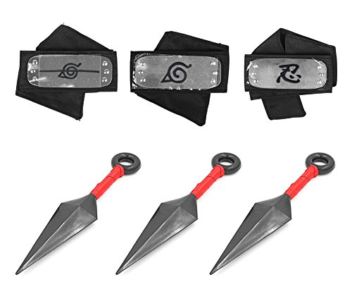 (Naruto Headband, 3 Pcs Naruto Headband and 3 Pcs Big Kunai Plastic Toy with Metal Plated Cosplay Leaf Village Ninja Kakashi)