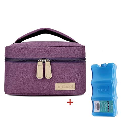 Breastmilk Cooler with Ice Pack Healthy Baby Daycare Set - Keep Food Warm or Cool for Go Out Lunch Bag-Large Capacity Storage for 6 Breastmilk Bottles in 5oz Bottle Tote Bags,Purple (Baby Cooler)