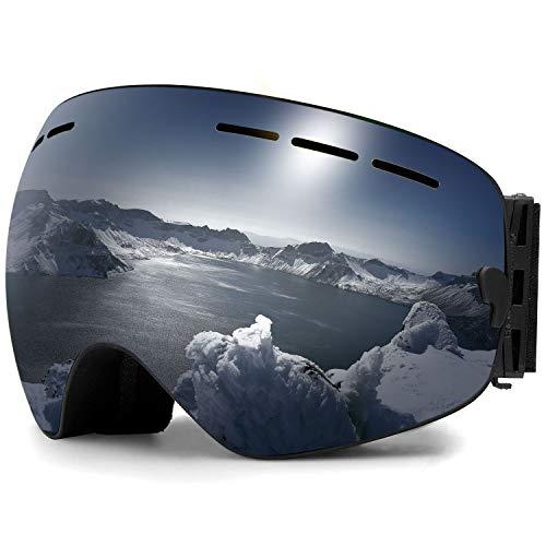 Zerhunt Ski Goggles, Snowboard Goggles Over Glasses, Anti Fog UV Protection Snow Goggles OTG Interchangeable Lens for Men Women Snowmobile, Skiing, Skating, Black (For Google Ski)
