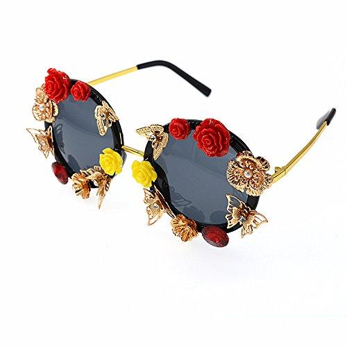 mano roja mujeres amarilla color oro Mariposa sol Retro UV Estilo las Elegante para de hecha a y de rosa gafas Unisex gafas de de protección metal barrocas la metal pe retro Para flor sol conducción qRgIv