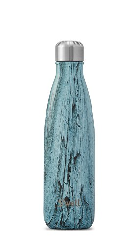 S'well TLWO-17-A17 Vacuum Insulated Double Wall Stainless Steel Bottle, 17 oz, Teal Wood