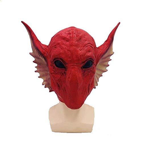 Rwdacfs Halloween mask,Snake Alien Mask Halloween red Basilisk Wig Performance -